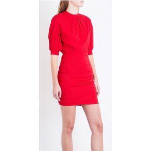 NWT Maje Roxia Crepe Red Pleated Rushed Mini Dress
